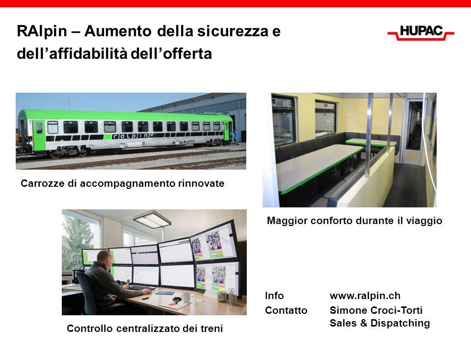 Info www.ralpin.ch ContattoSimone Croci-Torti Sales & Dispatching RAlpin – Aumento della sicurezza e dell'affidabilità dell'offerta Carrozze di accomp