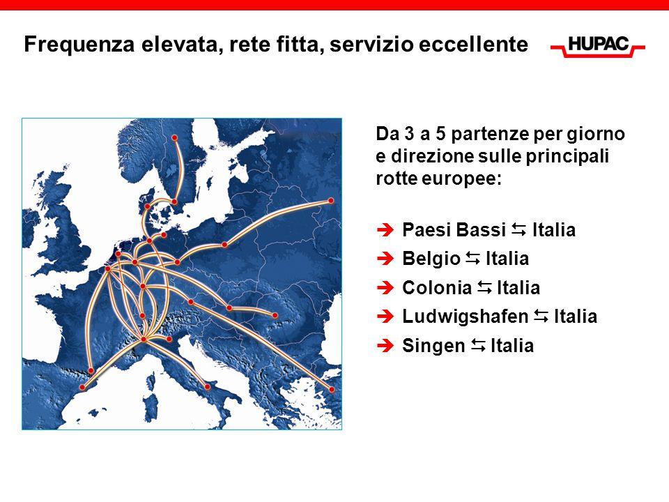 Frequenza elevata, rete fitta, servizio eccellente Da 3 a 5 partenze per giorno e direzione sulle principali rotte europee:  Paesi Bassi  Italia  B