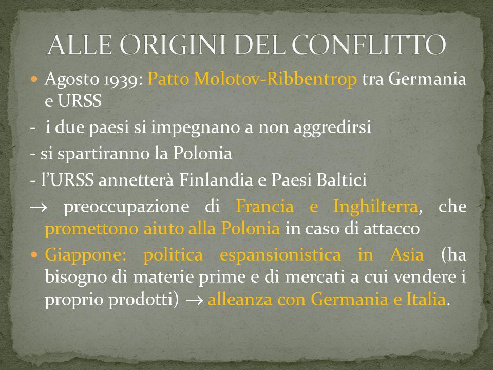 Agosto 1939: Patto Molotov-Ribbentrop tra Germania e URSS - i due paesi si impegnano a non aggredirsi - si spartiranno la Polonia - l'URSS annetterà F