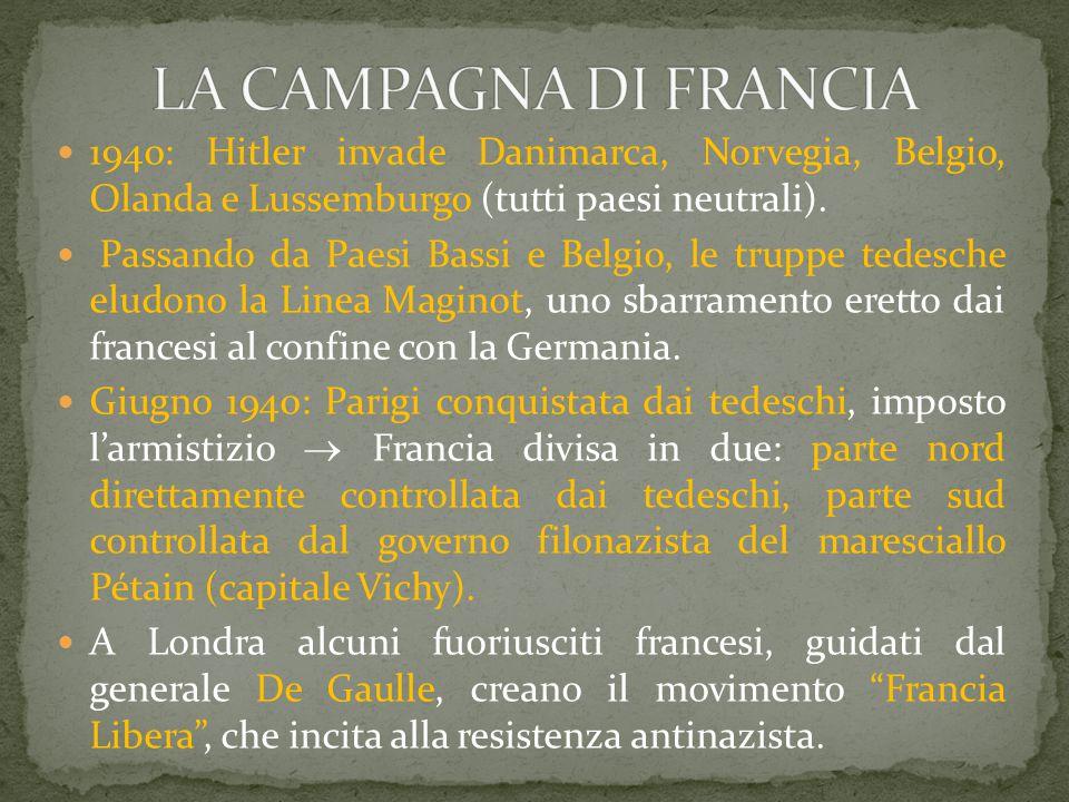 1940: Hitler invade Danimarca, Norvegia, Belgio, Olanda e Lussemburgo (tutti paesi neutrali). Passando da Paesi Bassi e Belgio, le truppe tedesche elu