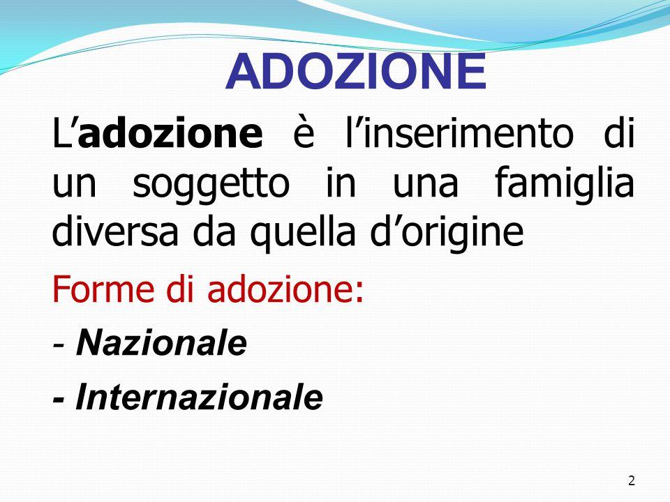 2 ADOZIONE L'adozione è l'inserimento di un soggetto in una famiglia diversa da quella d'origine Forme di adozione: - Nazionale - Internazionale
