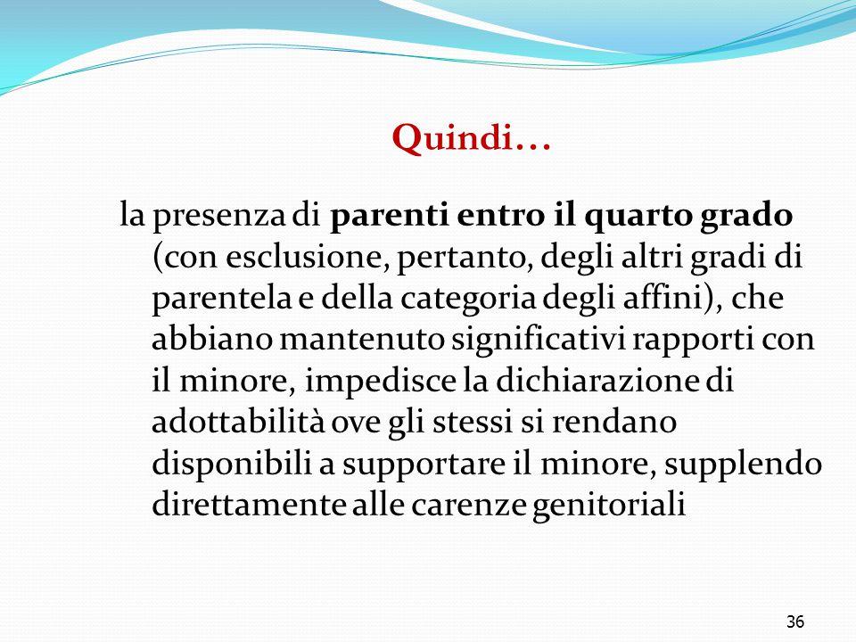 36 Quindi… la presenza di parenti entro il quarto grado (con esclusione, pertanto, degli altri gradi di parentela e della categoria degli affini), che