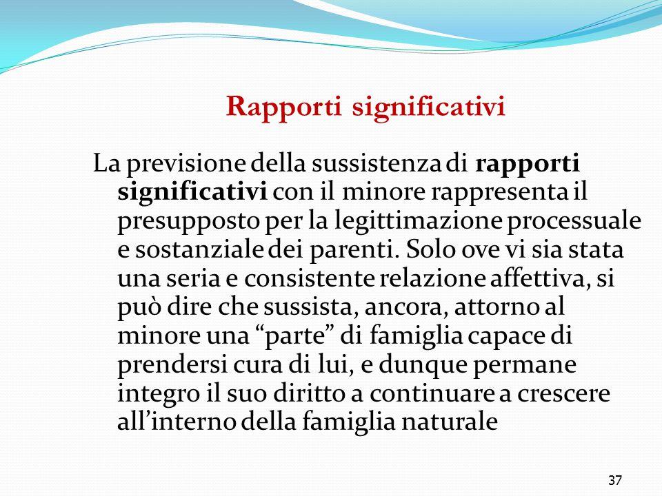 37 Rapporti significativi La previsione della sussistenza di rapporti significativi con il minore rappresenta il presupposto per la legittimazione pro