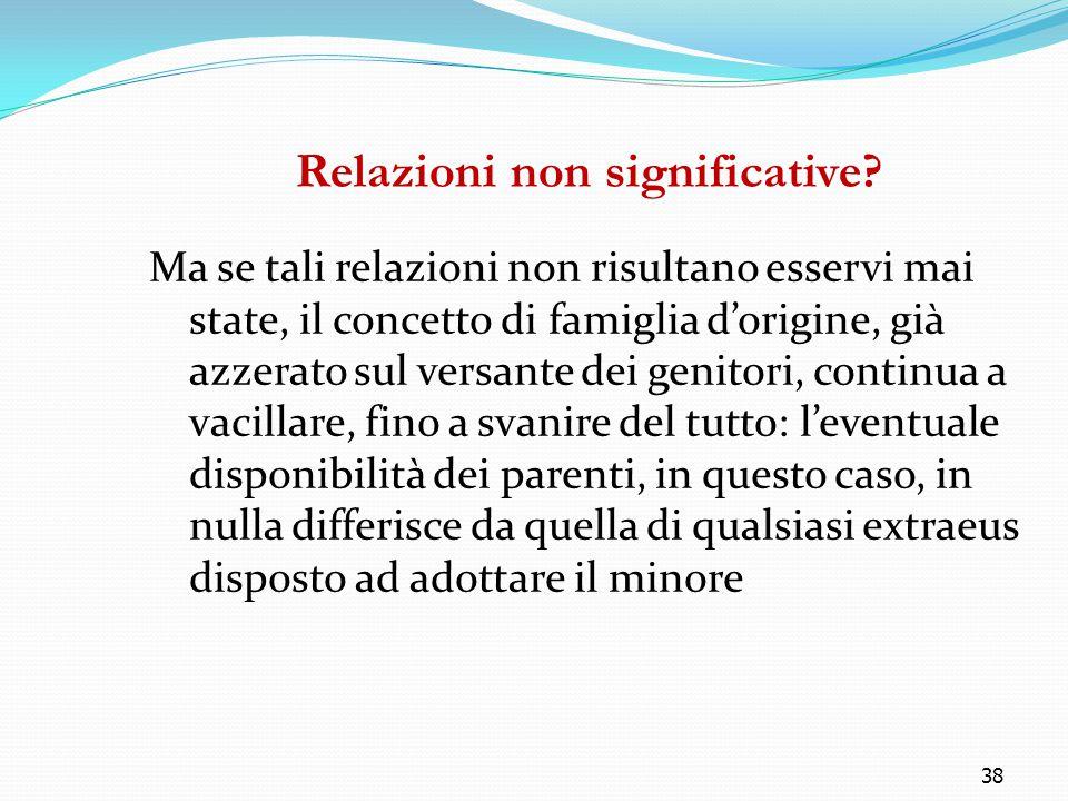 38 Relazioni non significative? Ma se tali relazioni non risultano esservi mai state, il concetto di famiglia d'origine, già azzerato sul versante dei