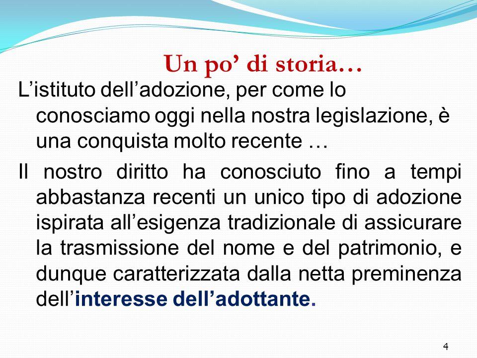 4 Un po' di storia… L'istituto dell'adozione, per come lo conosciamo oggi nella nostra legislazione, è una conquista molto recente … Il nostro diritto