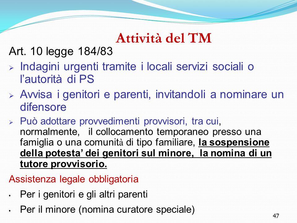 47 Attività del TM Art. 10 legge 184/83  Indagini urgenti tramite i locali servizi sociali o l'autorità di PS  Avvisa i genitori e parenti, invitand