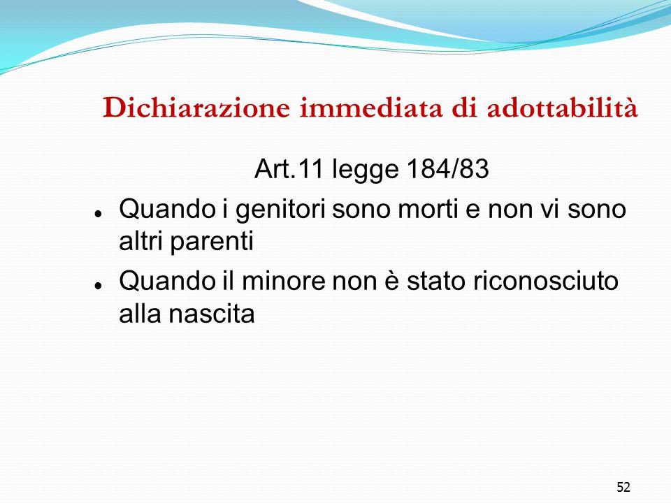 52 Dichiarazione immediata di adottabilità Art.11 legge 184/83 Quando i genitori sono morti e non vi sono altri parenti Quando il minore non è stato r