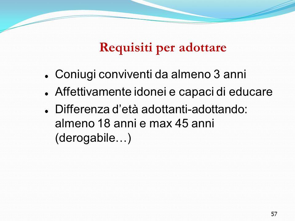 57 Requisiti per adottare Coniugi conviventi da almeno 3 anni Affettivamente idonei e capaci di educare Differenza d'età adottanti-adottando: almeno 1