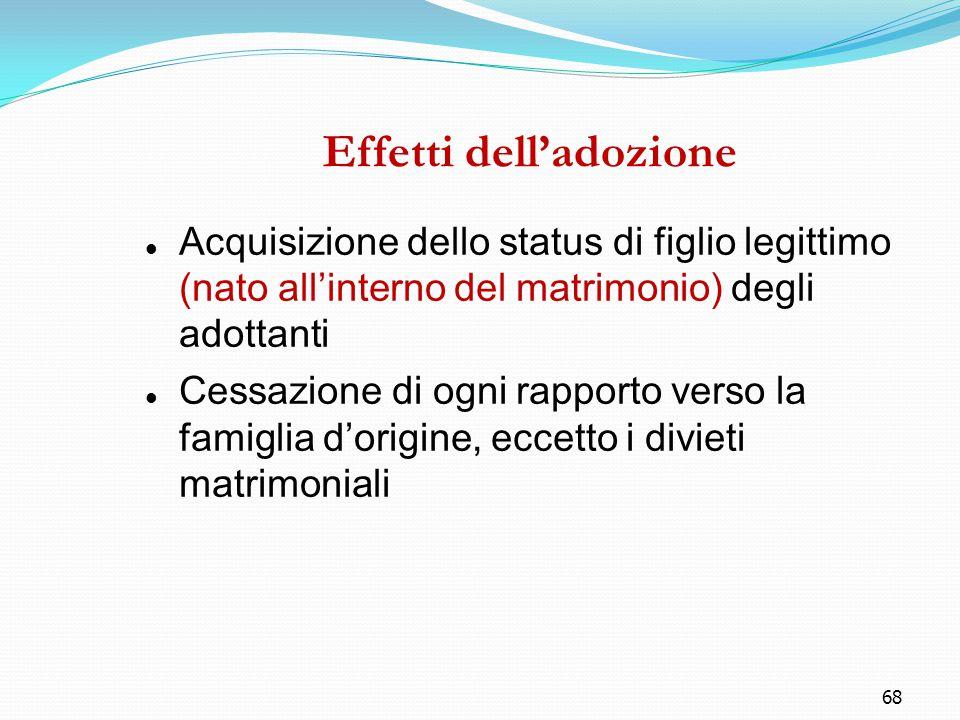 68 Effetti dell'adozione Acquisizione dello status di figlio legittimo (nato all'interno del matrimonio) degli adottanti Cessazione di ogni rapporto v