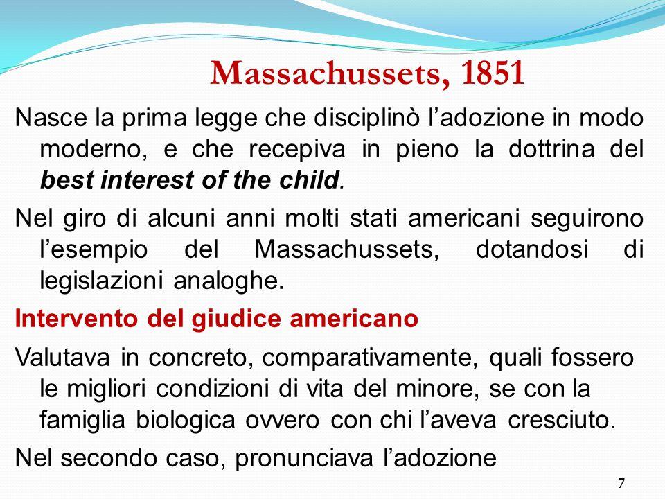 7 Massachussets, 1851 Nasce la prima legge che disciplinò l'adozione in modo moderno, e che recepiva in pieno la dottrina del best interest of the chi
