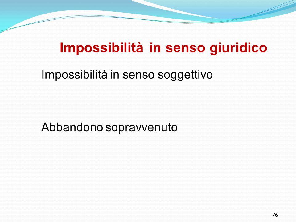 76 Impossibilità in senso giuridico Impossibilità in senso soggettivo Abbandono sopravvenuto