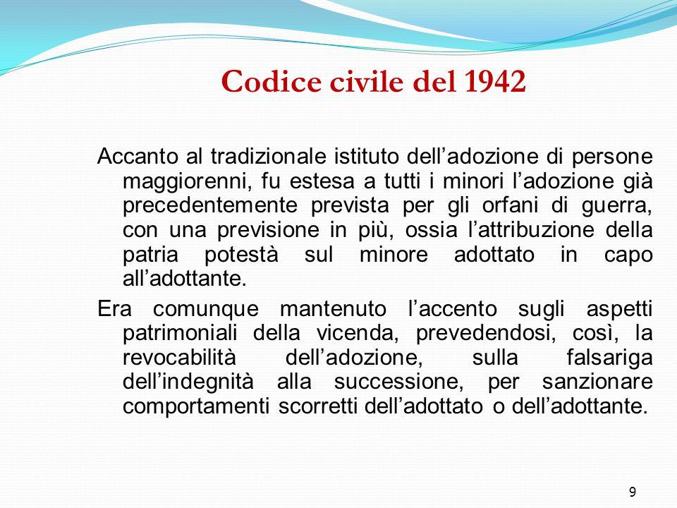 9 Codice civile del 1942 Accanto al tradizionale istituto dell'adozione di persone maggiorenni, fu estesa a tutti i minori l'adozione già precedenteme