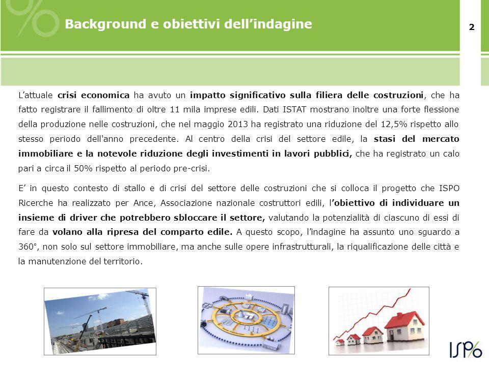 2 Background e obiettivi dell'indagine L'attuale crisi economica ha avuto un impatto significativo sulla filiera delle costruzioni, che ha fatto registrare il fallimento di oltre 11 mila imprese edili.