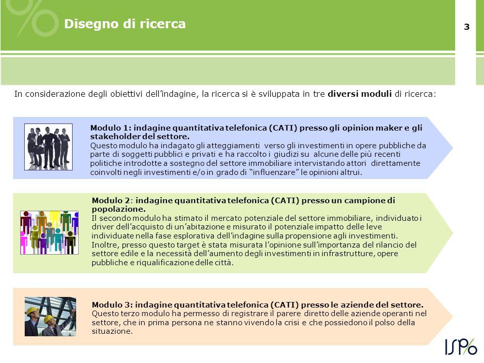 3 In considerazione degli obiettivi dell'indagine, la ricerca si è sviluppata in tre diversi moduli di ricerca: Disegno di ricerca Modulo 2: indagine quantitativa telefonica (CATI) presso un campione di popolazione.