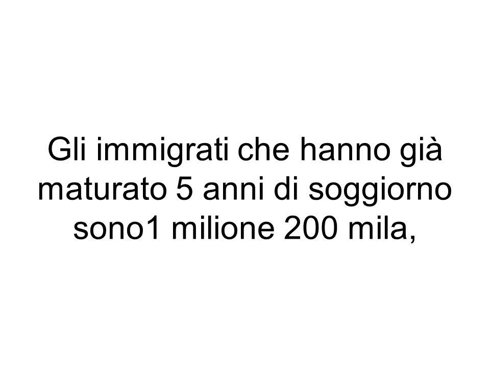 Gli immigrati che hanno già maturato 5 anni di soggiorno sono1 milione 200 mila,