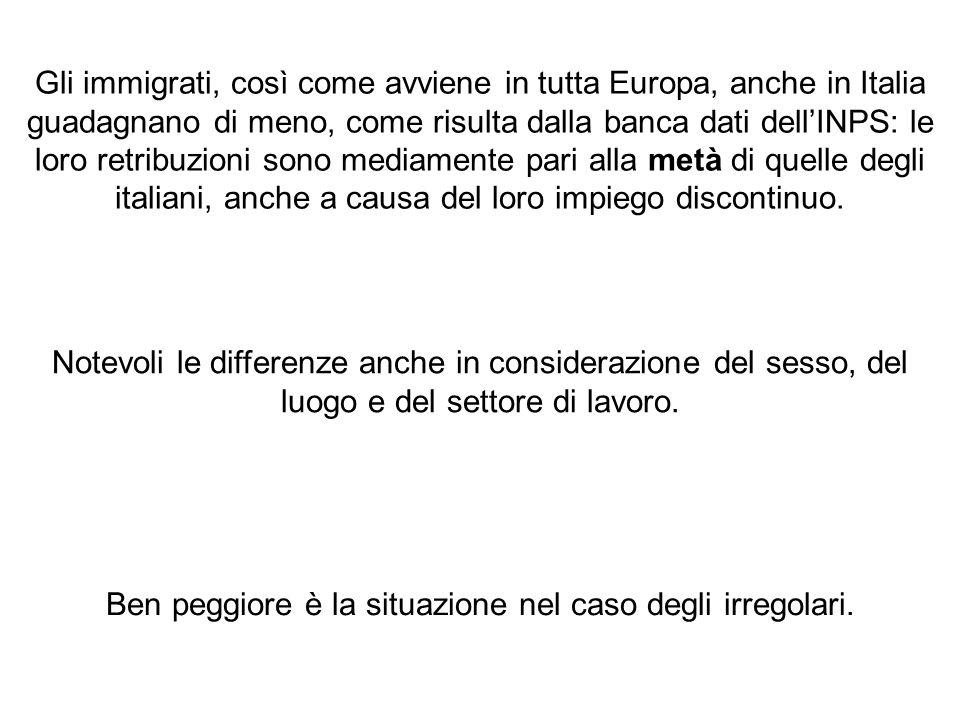 Gli immigrati, così come avviene in tutta Europa, anche in Italia guadagnano di meno, come risulta dalla banca dati dell'INPS: le loro retribuzioni sono mediamente pari alla metà di quelle degli italiani, anche a causa del loro impiego discontinuo.