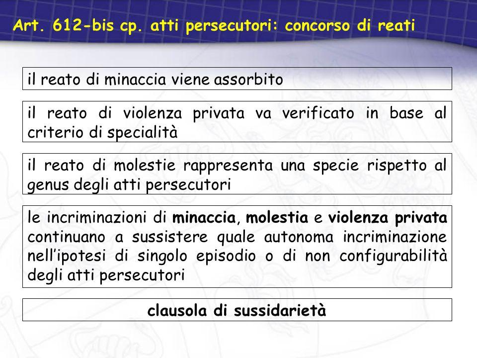 Art. 612-bis cp. atti persecutori: concorso di reati il reato di minaccia viene assorbito il reato di violenza privata va verificato in base al criter
