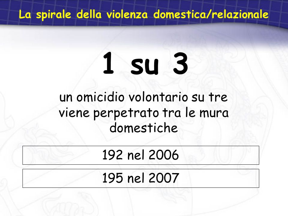 1 su 3 un omicidio volontario su tre viene perpetrato tra le mura domestiche La spirale della violenza domestica/relazionale 192 nel 2006 195 nel 2007