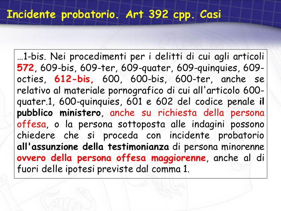 Incidente probatorio. Art 392 cpp. Casi …1-bis. Nei procedimenti per i delitti di cui agli articoli 572, 609-bis, 609-ter, 609-quater, 609-quinquies,