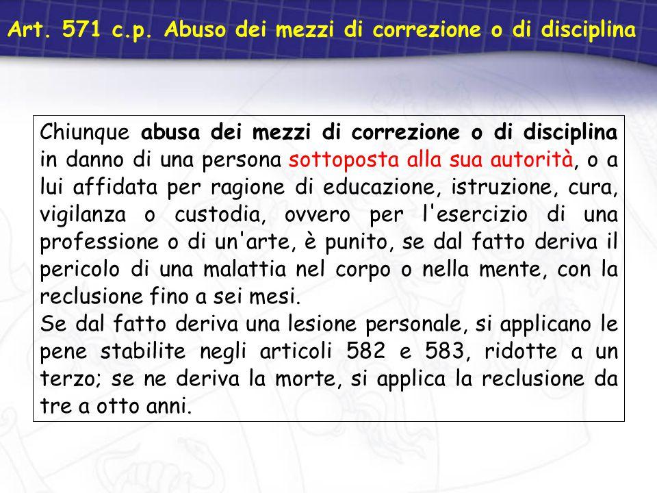 Art. 571 c.p. Abuso dei mezzi di correzione o di disciplina Chiunque abusa dei mezzi di correzione o di disciplina in danno di una persona sottoposta