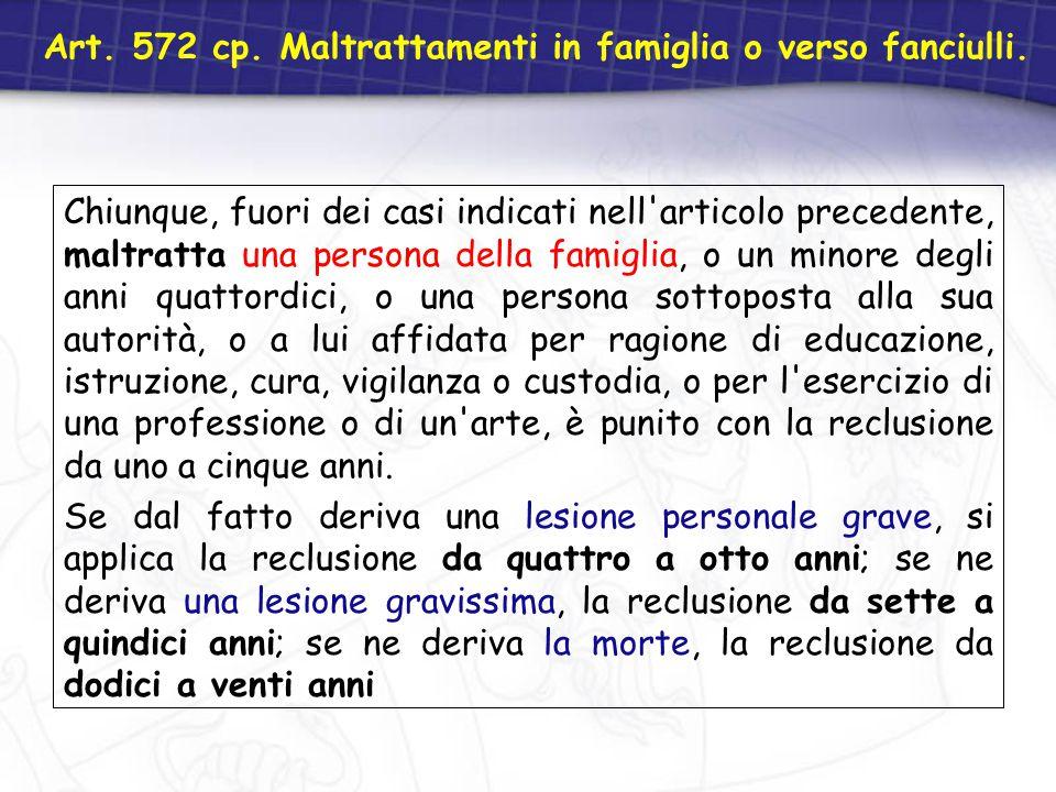Art. 572 cp. Maltrattamenti in famiglia o verso fanciulli. Chiunque, fuori dei casi indicati nell'articolo precedente, maltratta una persona della fam