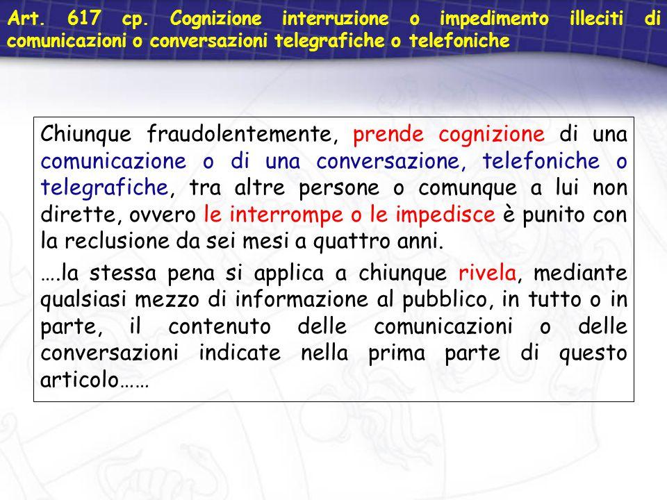 Art. 617 cp. Cognizione interruzione o impedimento illeciti di comunicazioni o conversazioni telegrafiche o telefoniche Chiunque fraudolentemente, pre