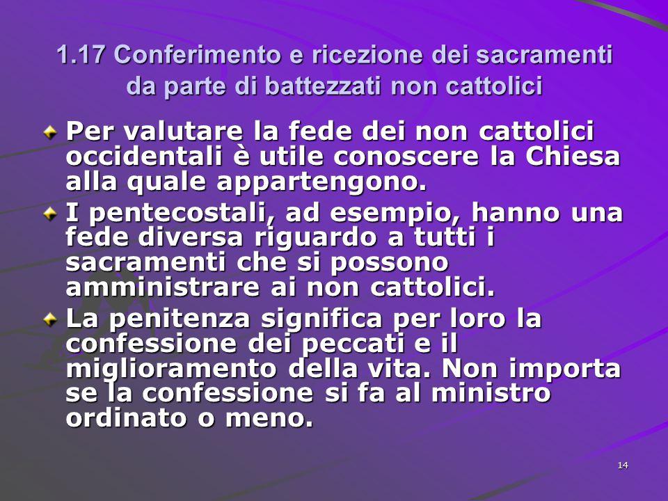 1.17 Conferimento e ricezione dei sacramenti da parte di battezzati non cattolici Per valutare la fede dei non cattolici occidentali è utile conoscere