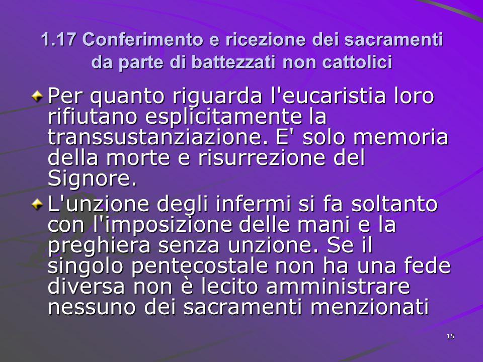 1.17 Conferimento e ricezione dei sacramenti da parte di battezzati non cattolici Per quanto riguarda l'eucaristia loro rifiutano esplicitamente la tr
