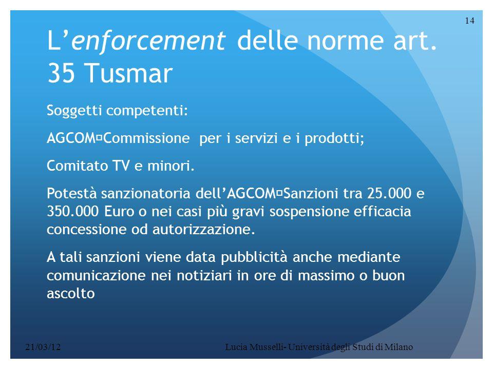 Lucia Musselli- Università degli Studi di Milano 14 L'enforcement delle norme art. 35 Tusmar Soggetti competenti: AGCOM  Commissione per i servizi e