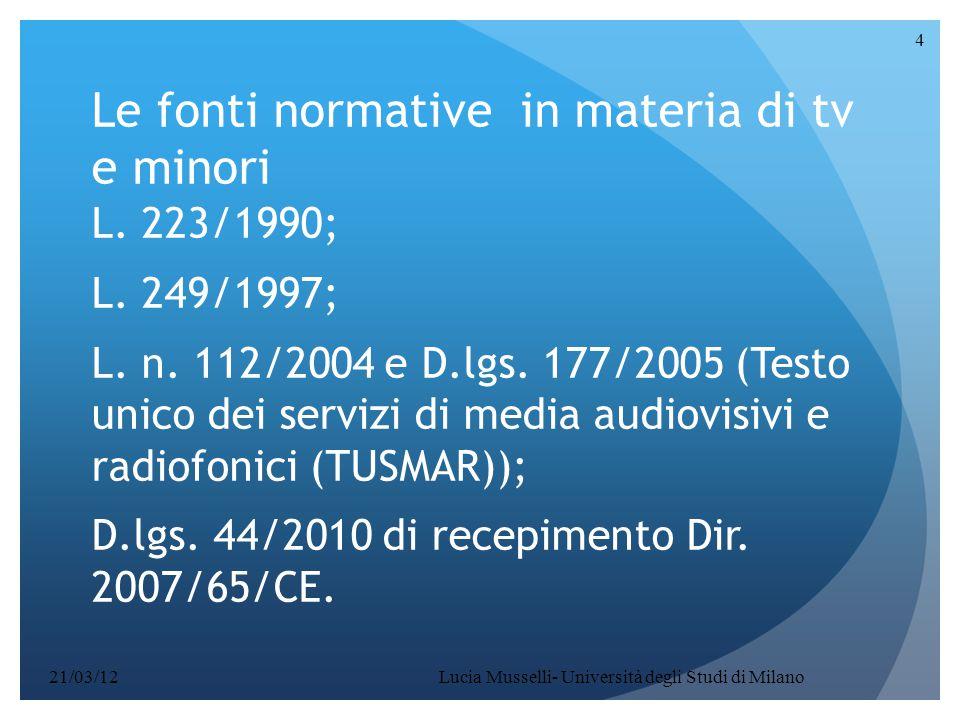 Lucia Musselli- Università degli Studi di Milano 4 Le fonti normative in materia di tv e minori L. 223/1990; L. 249/1997; L. n. 112/2004 e D.lgs. 177/