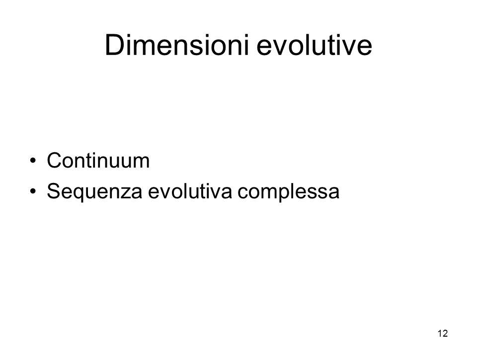 12 Dimensioni evolutive Continuum Sequenza evolutiva complessa