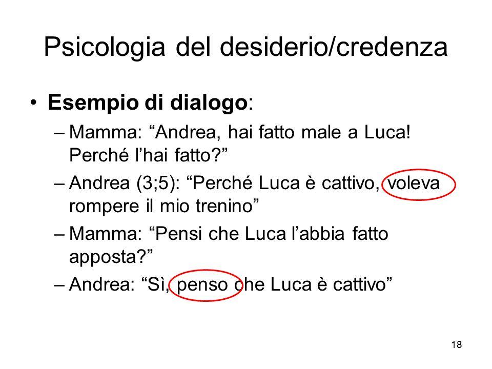 """18 Psicologia del desiderio/credenza Esempio di dialogo: –Mamma: """"Andrea, hai fatto male a Luca! Perché l'hai fatto?"""" –Andrea (3;5): """"Perché Luca è ca"""