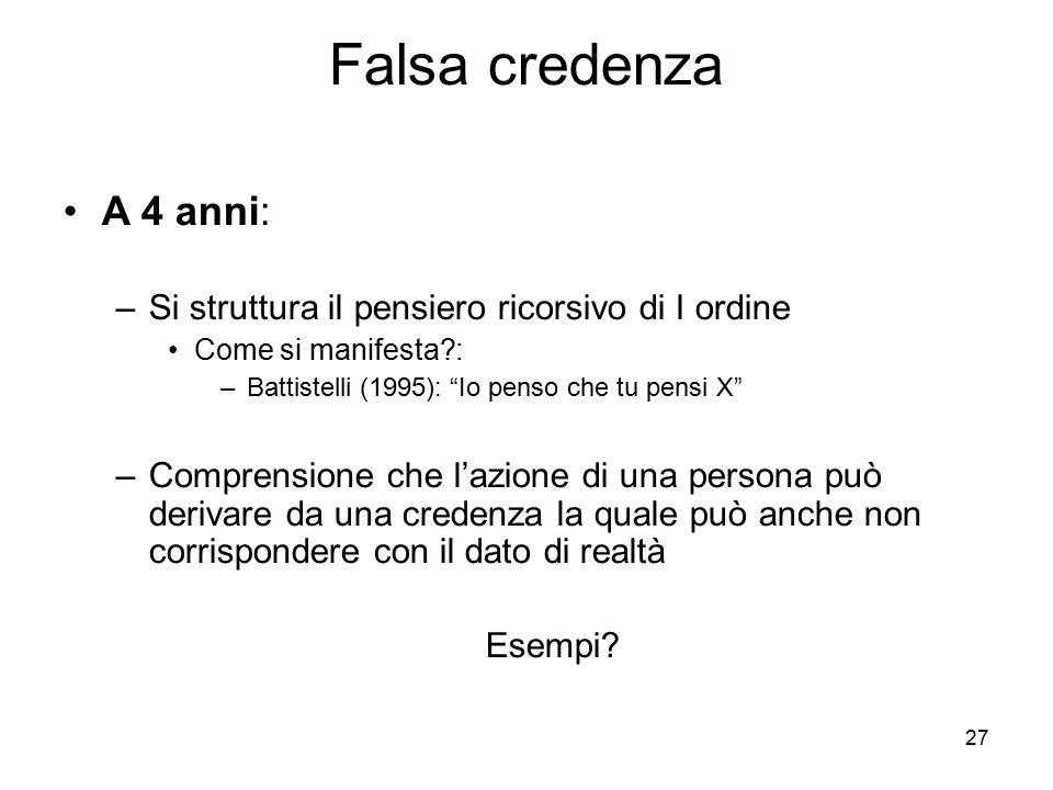"""27 Falsa credenza A 4 anni: –Si struttura il pensiero ricorsivo di I ordine Come si manifesta?: –Battistelli (1995): """"Io penso che tu pensi X"""" –Compre"""
