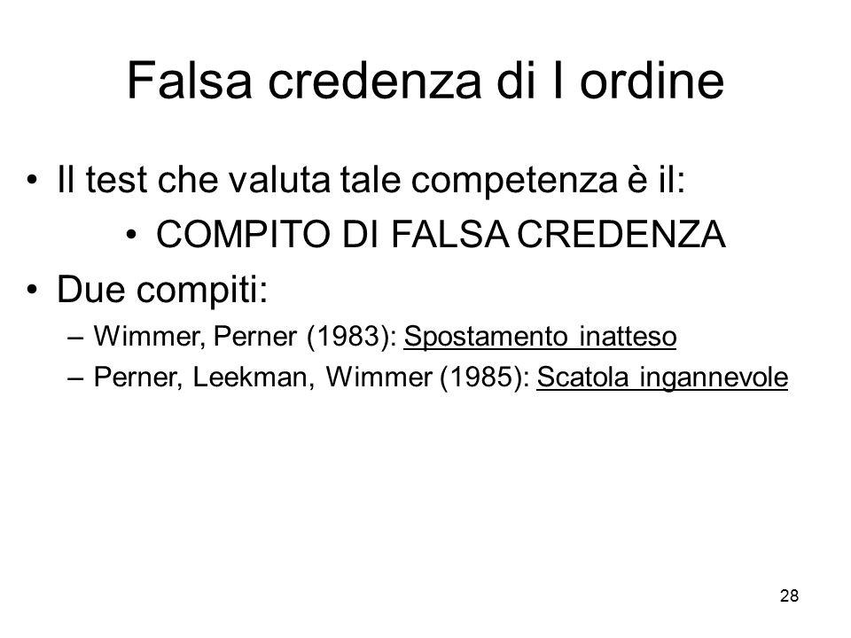 28 Falsa credenza di I ordine Il test che valuta tale competenza è il: COMPITO DI FALSA CREDENZA Due compiti: –Wimmer, Perner (1983): Spostamento inat