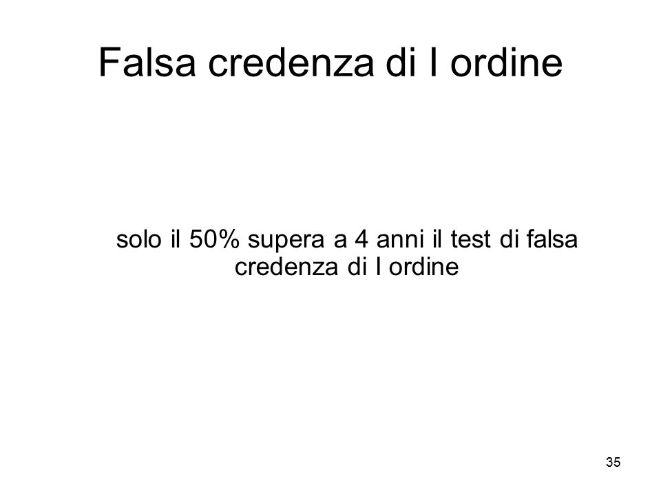 35 Falsa credenza di I ordine solo il 50% supera a 4 anni il test di falsa credenza di I ordine