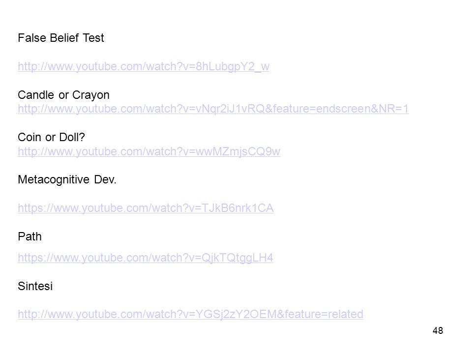 48 Video sulla FC nei bambini False Belief Test http://www.youtube.com/watch?v=8hLubgpY2_w http://www.youtube.com/watch?v=8hLubgpY2_w Candle or Crayon