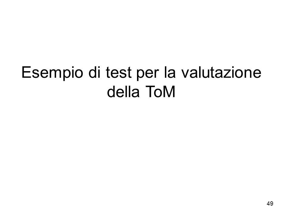 49 Esempio di test per la valutazione della ToM