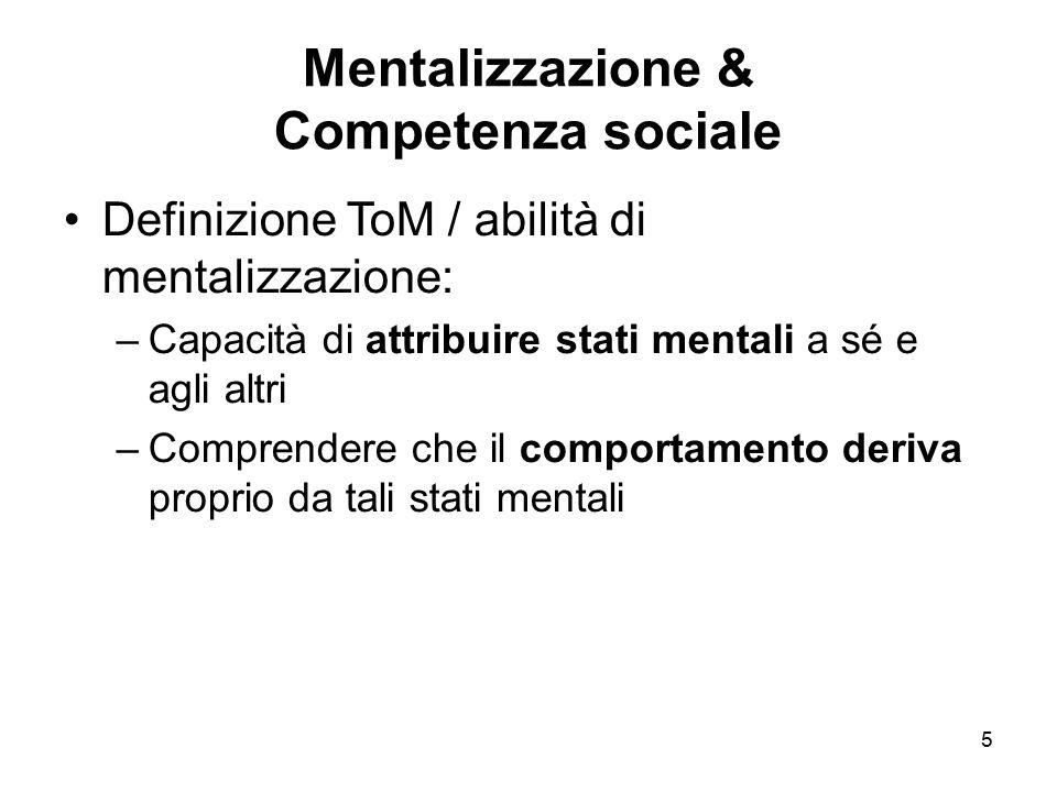 5 Mentalizzazione & Competenza sociale Definizione ToM / abilità di mentalizzazione: –Capacità di attribuire stati mentali a sé e agli altri –Comprend