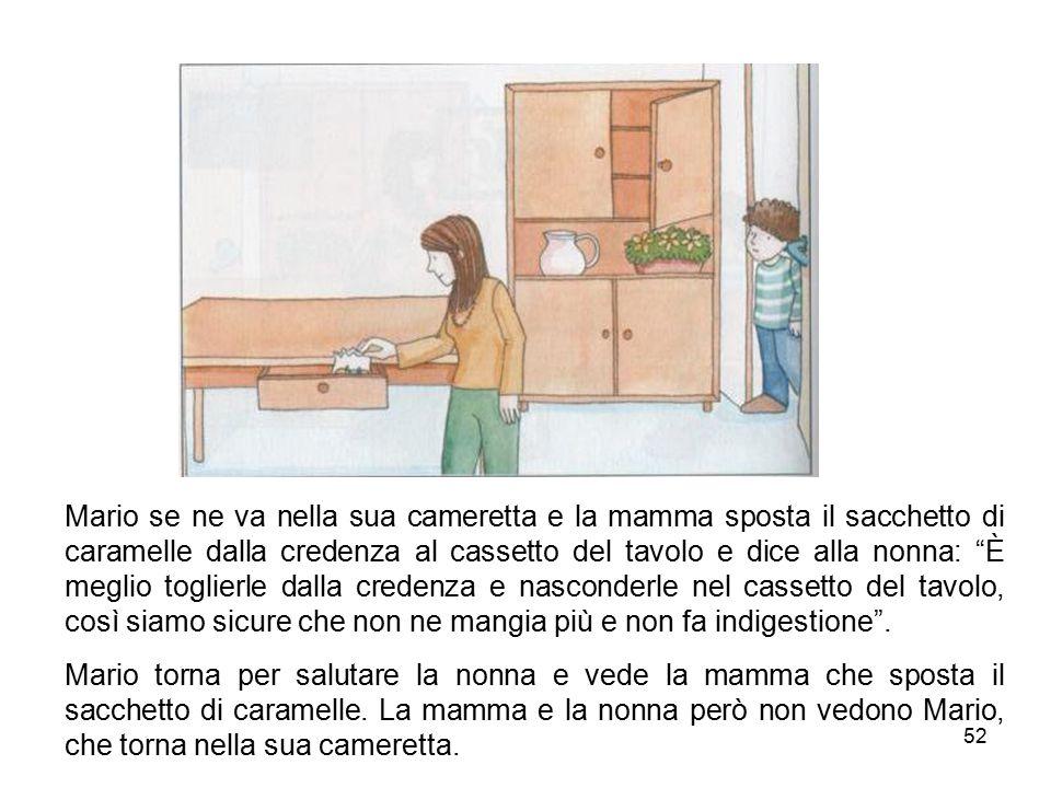 """52 Mario se ne va nella sua cameretta e la mamma sposta il sacchetto di caramelle dalla credenza al cassetto del tavolo e dice alla nonna: """"È meglio t"""