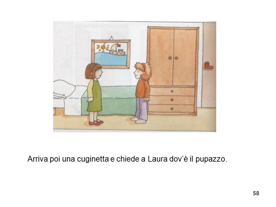 58 Arriva poi una cuginetta e chiede a Laura dov'è il pupazzo.