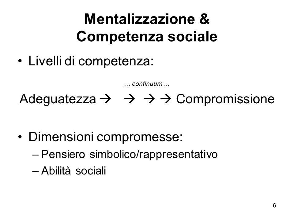 6 Mentalizzazione & Competenza sociale Livelli di competenza: … continuum... Adeguatezza     Compromissione Dimensioni compromesse: –Pensiero simb
