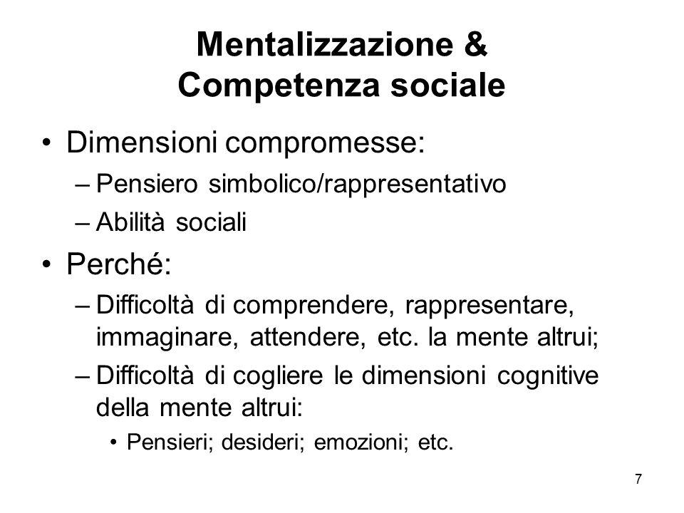 7 Mentalizzazione & Competenza sociale Dimensioni compromesse: –Pensiero simbolico/rappresentativo –Abilità sociali Perché: –Difficoltà di comprendere