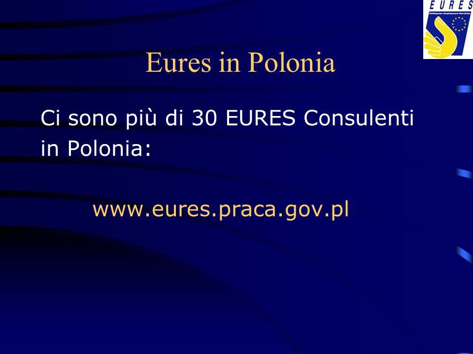 Eures in Polonia Ci sono più di 30 EURES Consulenti in Polonia: www.eures.praca.gov.pl