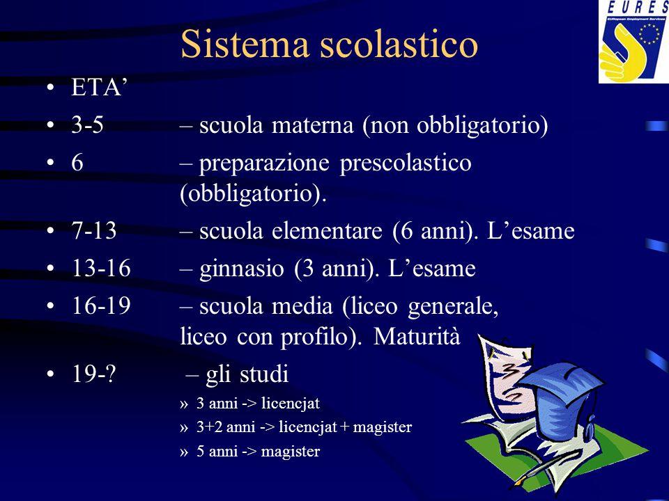 Sistema scolastico ETA' 3-5– scuola materna (non obbligatorio) 6 – preparazione prescolastico (obbligatorio). 7-13 – scuola elementare (6 anni). L'esa