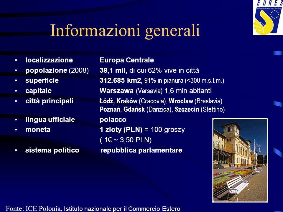 Informazioni generali localizzazioneEuropa Centrale popolazione (2008)38,1 mil, di cui 62% vive in città superficie312.685 km2, 91% in pianura (<300 m