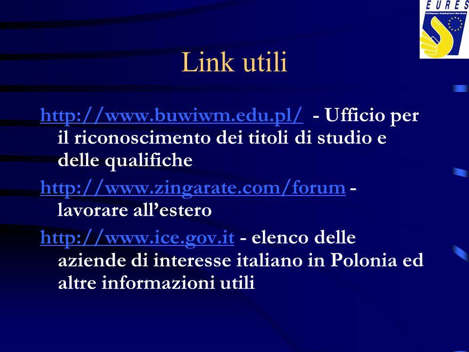 Link utili http://www.buwiwm.edu.pl/http://www.buwiwm.edu.pl/ - Ufficio per il riconoscimento dei titoli di studio e delle qualifiche http://www.zinga
