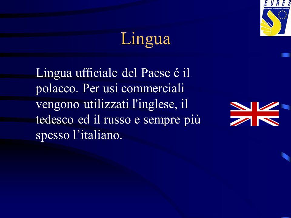 Lingua Lingua ufficiale del Paese é il polacco. Per usi commerciali vengono utilizzati l'inglese, il tedesco ed il russo e sempre più spesso l'italian