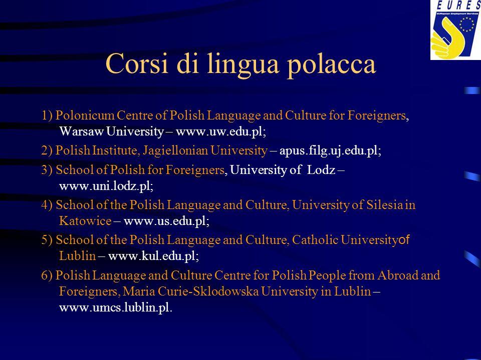 Corsi di lingua polacca 1) Polonicum Centre of Polish Language and Culture for Foreigners, Warsaw University – www.uw.edu.pl; 2) Polish Institute, Jag
