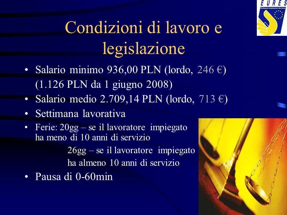 Condizioni di lavoro e legislazione Salario minimo 936,00 PLN (lordo, 246 €) (1.126 PLN da 1 giugno 2008) Salario medio 2.709,14 PLN (lordo, 713 €) Se