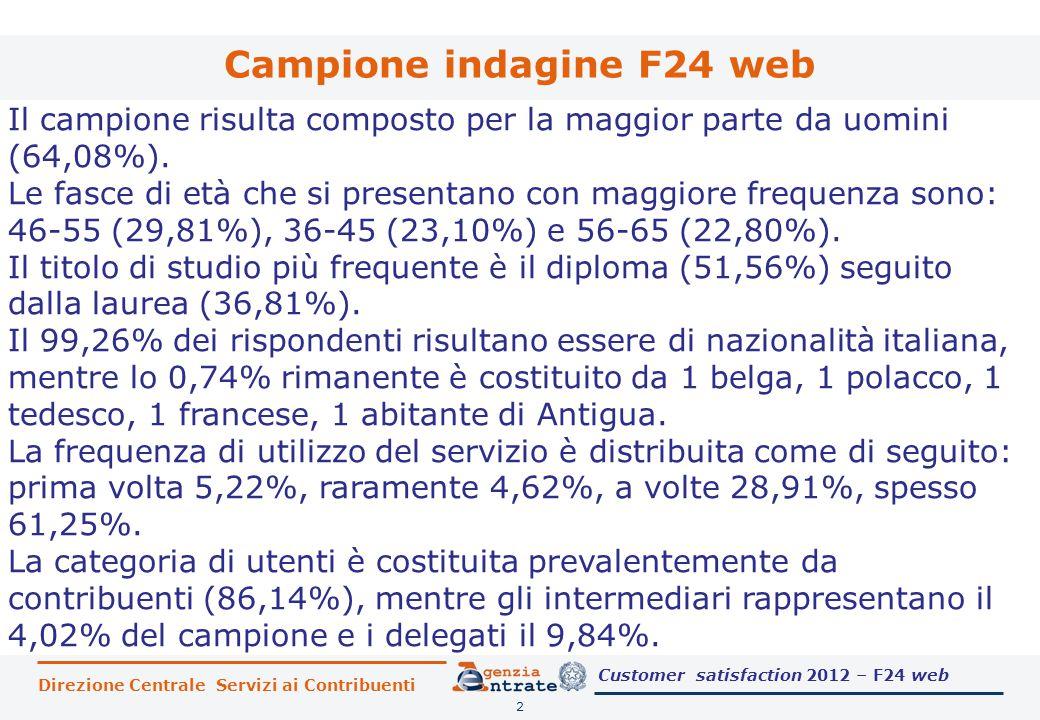 Direzione Centrale Servizi ai Contribuenti Campione indagine F24 web 2 Il campione risulta composto per la maggior parte da uomini (64,08%).